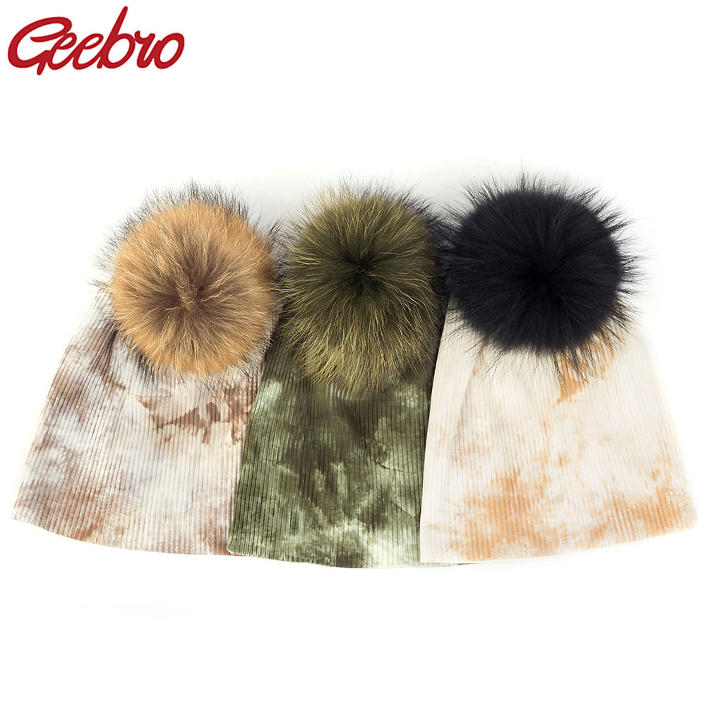 Geebro Women Tie Dye   Beanie   Hat Ladies Knitted Winter Warm Wool Cotton 15cm Real Raccoon Fur Pom Pom   Skullies   Hats