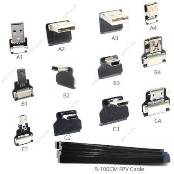 Monitor FPV Mini USB estándar Super plano FPC flexible de Cable de carga de 90 grados Micro Cable cinta de USB salida AV Cable de OTG 5V 3A