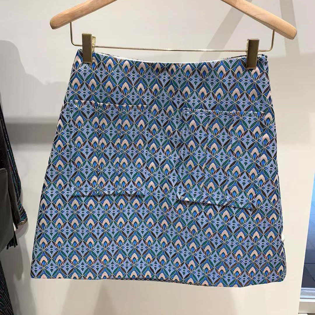Spódnica damska 2020 wiosna/lato nowy żakard geometryczny prosty spódnica damska z dwiema kieszeniami