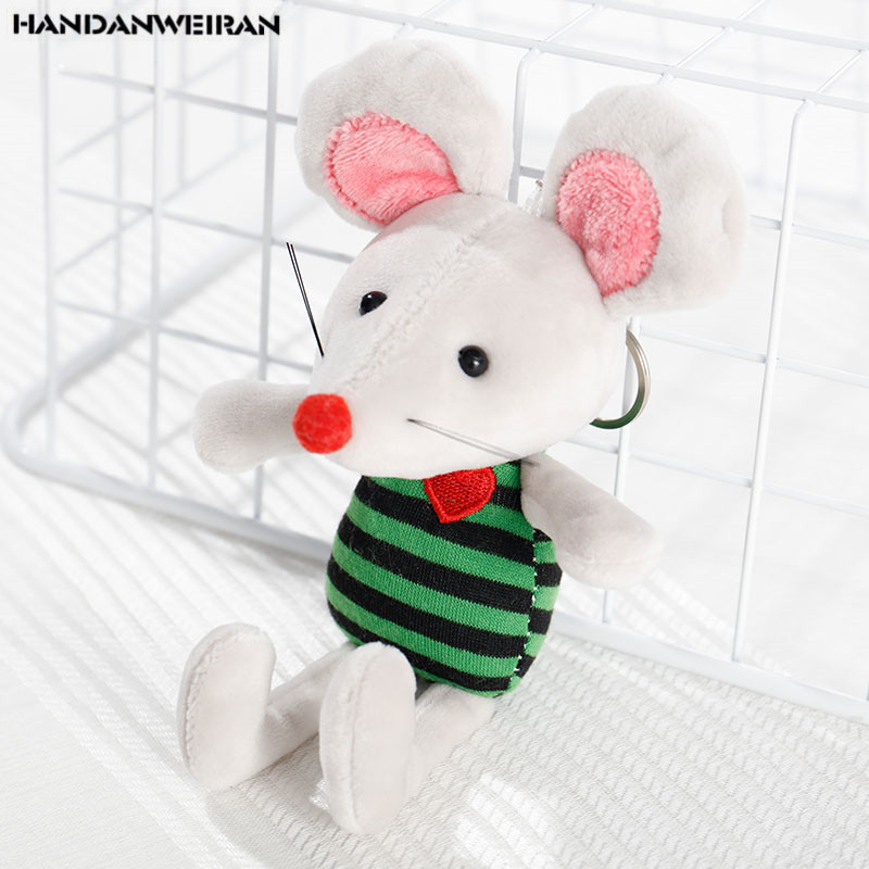 1 PCS 17CM New 2020 Rat Year Mascot Toy Cute Striped Clothes Mouse Doll Pendant Holiday Gift For Girls&Boys HANDANWEIRAN