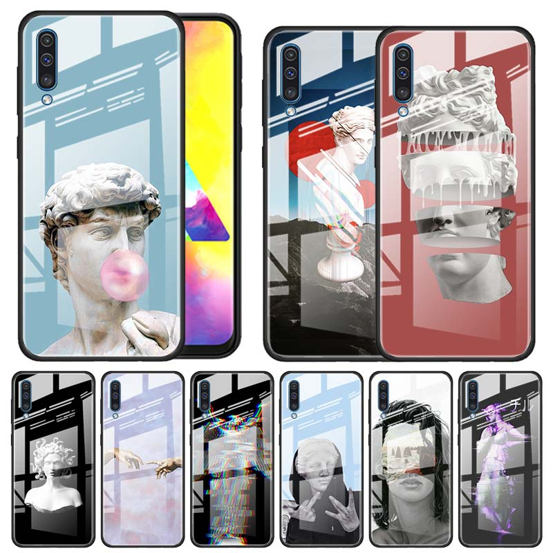 statue kunst Muster <font><b>Tempered</b></font> <font><b>Glass</b></font> <font><b>Case</b></font> for <font><b>Samsung</b></font> Galaxy A10 A20 A30 A40 A50 <font><b>A70</b></font> A51 A71 A81 A91 A31 A41 M31 M51 Funda Capa image