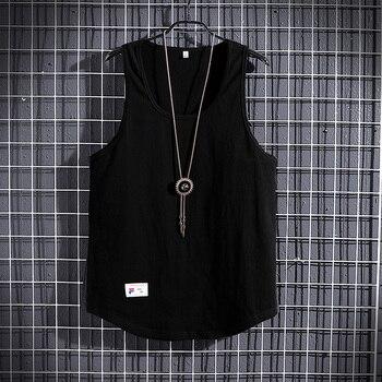 2020 Men's Summer Cotton Large Size Vest Casual Breathable Cutout Sleeveless Men's Loose Solid Color Summer Vest M-3XL 2