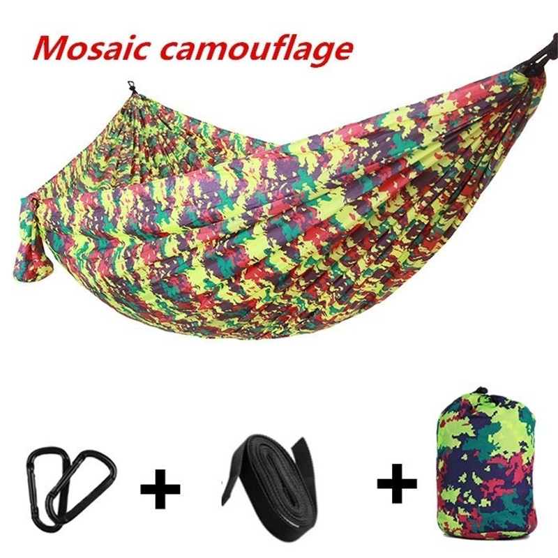 Outdoor Double Camping Travel Nylon Portable Hammocks Hanging Bed Swing Tents Camouflage Neck Hammock title=