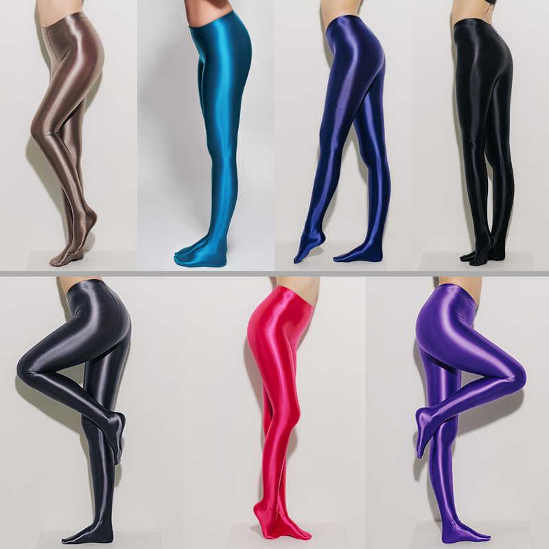 LEOHEX Spandex LUCIDO OPACO Collant Lucido a vita alta Collant Sexy Calze di yoga pantaloni pantaloni di formazione delle donne di sport leggings fitness