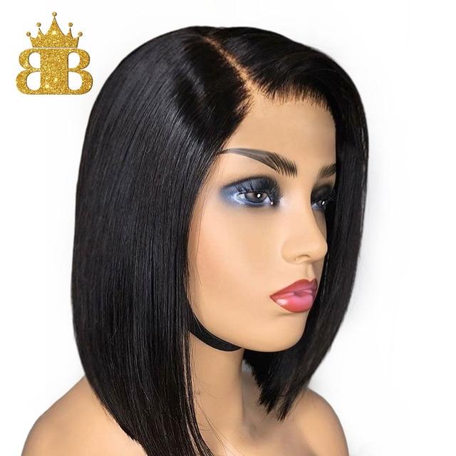 짧은 밥 스트레이트 가발 130% 밀도 레미 인간의 머리 가발 여성을위한 자연 블랙 컬러 pre plucked bib hair