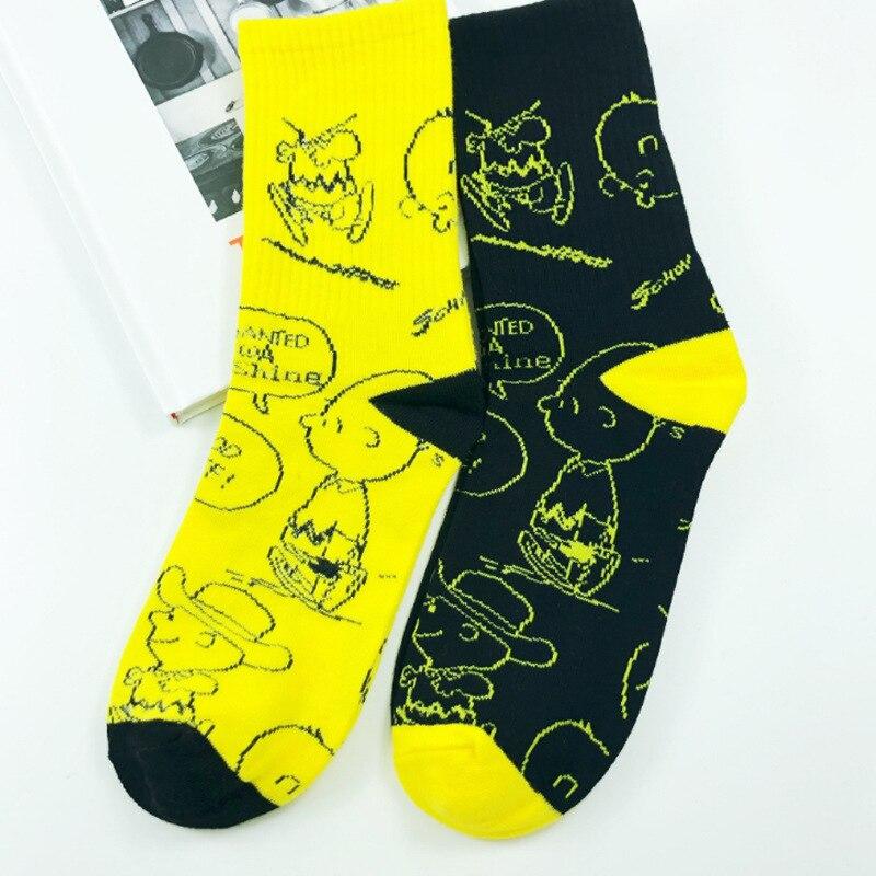 Korean Creative woman socks version of the cartoon fun fun socks illustration cute woman personality trend skateboarding socks