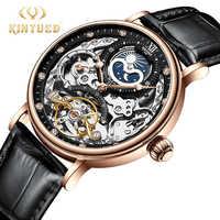 KINYUED Mechanische Automatische Uhr Männer Tourbillon Armbanduhr Sport Uhr Mechanismus Selbst Wicklung Uhren Casual Mond horloge mann