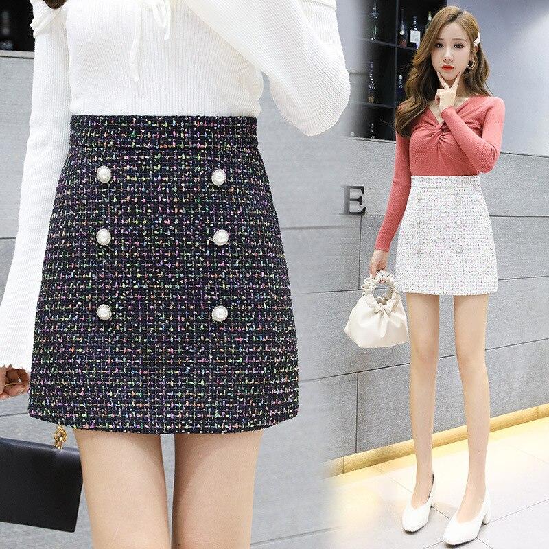 Photo Shoot 2019 Winter Woolen Slim Fit Skirt Women's Korean-style Buckle Graceful Sheath High-waisted A- Line Skirt Short Skirt