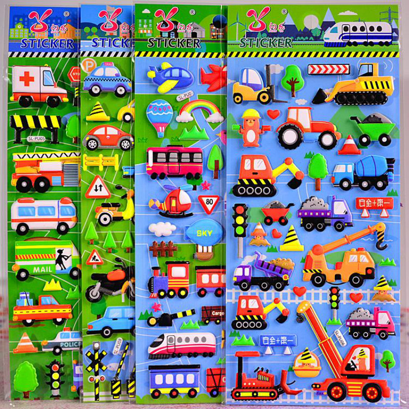 4 Pieces Children Truck Bubble Girl Boy Stickers Baby Motocycle Scrapbook Sticky Kids Transport Funny Education Sticker LaptopTo
