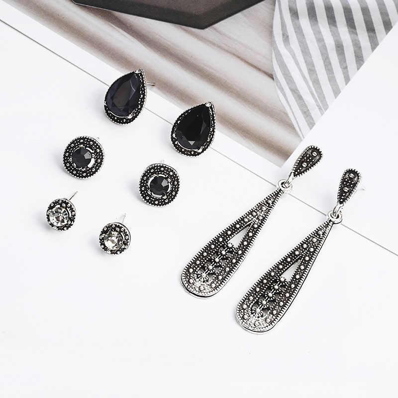 8 tasarım Bohemian Vintage saplama küpe su damlası kristal küpe seti kadın siyah için taş renk geometrik yuvarlak kız takı