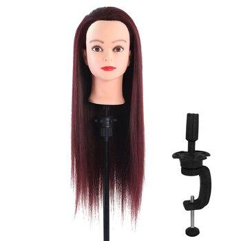 Pelo de 60cm con cabeza de maniquí, peluquería, modelo de maniquí para mujer, cabeza de maniquí con pinza, peluca roja, pelo largo