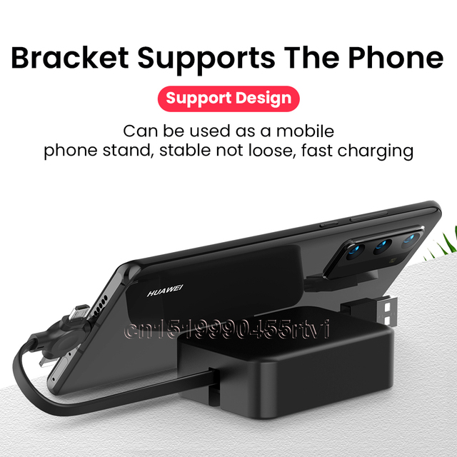 4in1 Retractable USB Type C Micro USB powerbank charge Cable for iPhone 12 11 Pro with phone stand 3in1 2in1 Charger Data Cable 3
