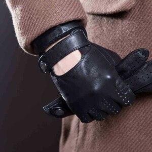 Image 2 - Весенние и летние мужские импортные перчатки из овечьей кожи с сенсорным экраном, модные спортивные перчатки для вождения, противоскользящие велосипедные перчатки