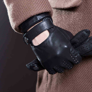 Image 2 - Spring And Summer Mens Imported Sheepskin Leather Touch Screen Gloves Fashion Outdoor Sports Driving Anti Skid Cycling Gloves