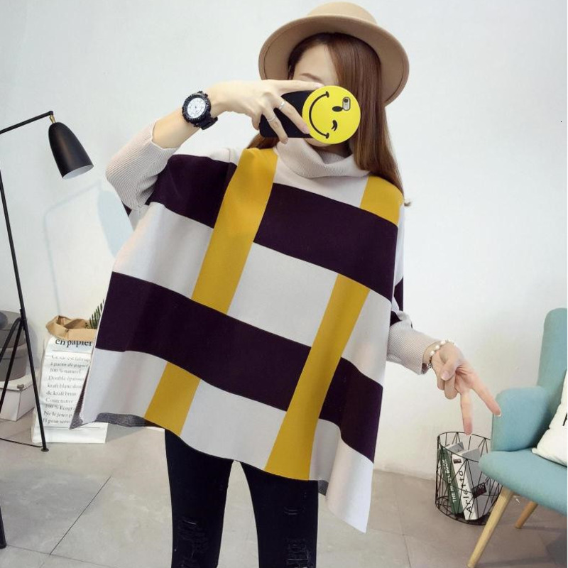 LANMREM Color Matching Plaid High Collar Bat Long Sleeve Split Plus Woman Sweater Casual Simple Fashion 2020 Spring New  TV509