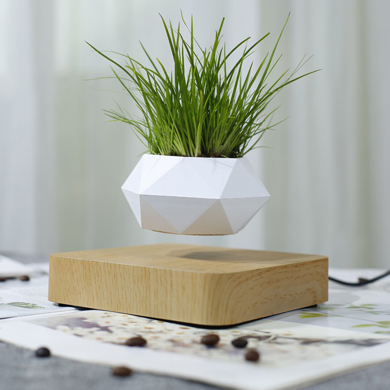 Dropshipping Levitating Air Bonsai Pot Rotation Flower Pot Planters Magnetic Suspension Floating Pot Potted Plant Home