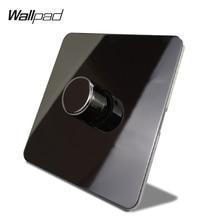 Wallpad สีดำนิกเกิล 1 Gang 2 Way LED Light Dimmer สวิทช์ On Off สแตนเลสแผงปุ่มโลหะ