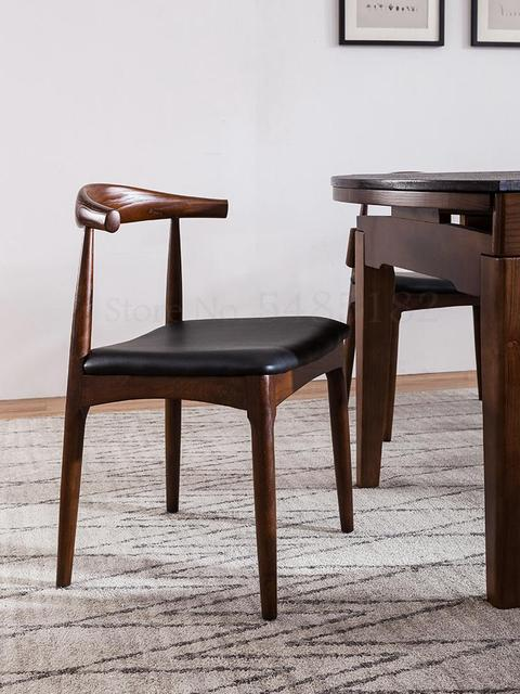 Nordic Solid Wood Horn Chair  2