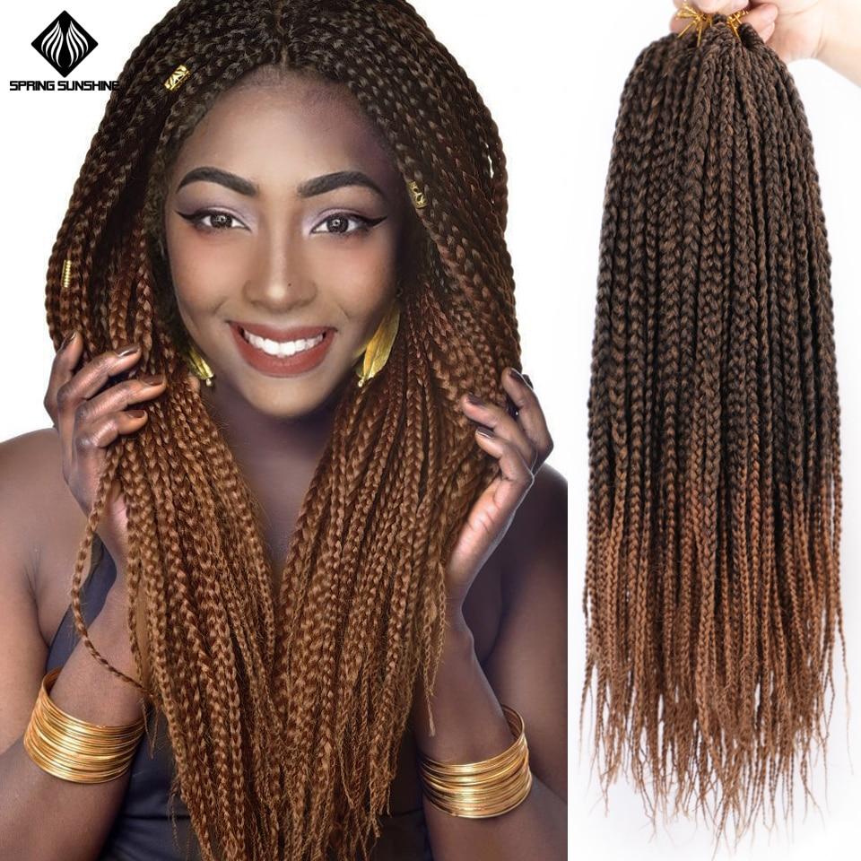 Spring Sunshine 14 20Inch Long Micro Box Braids Synthetic Crochet Braid Box Braiding Hair Bulk Crochet Braids For Black Woman