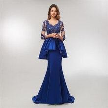 2020 Royal Blue Mermaid Prom Dress Beaded Evening Dress Lace With Peplum Vestido De Festa Longo zip back lace insert peplum top