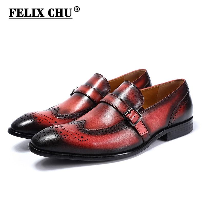 فيليكس تشو العلامة التجارية أنيق جلد طبيعي الانزلاق على الرجال الزفاف اللباس أحذية قمة الجناح البروغ حذاء أيرلندي حزب مأدبة الرجال مشبك الرسمي المتسكعون-في أحذية رسمية من أحذية على  مجموعة 1