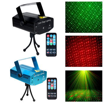 Mini Party Show LED Laser Projector Red Green Stage Lights Voice Control Music Disco Light Effect Lamp with Controller DJ Ball tiptop tp e36 professional club dj disco projector stage laser light party green red voice control 20w shaking glass laser beam