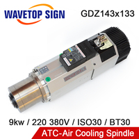 Automatic Tool Change Spindle 9kw ATC spindle ISO30 air cooled spindle motor 220v 380v with VFD Inverter for wood working router