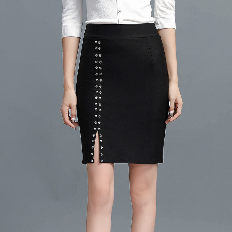 Photo Shoot 2019 WOMEN'S Dress New Style Autumn High-waisted Rivet Slit Short Hip-hugger Skirt