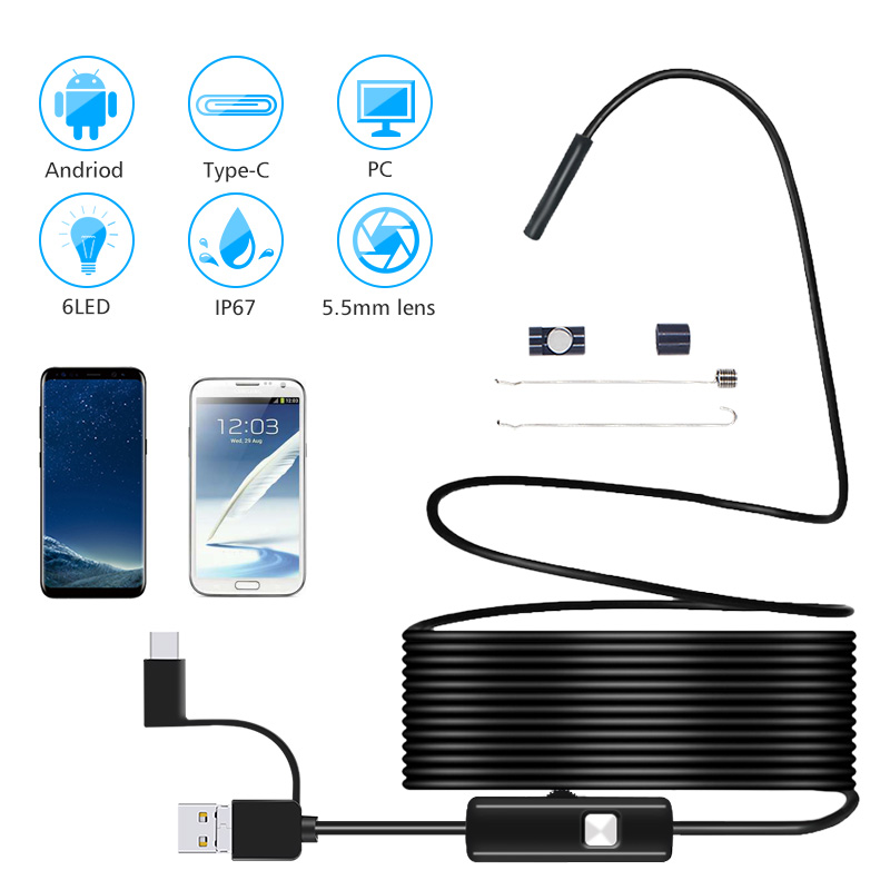 5.5MM Android Endoscope 3 In 1 USB/Micro USB/Type-C Borescope Inspection Camera Waterproof For Smartphone With OTG And UVC PC