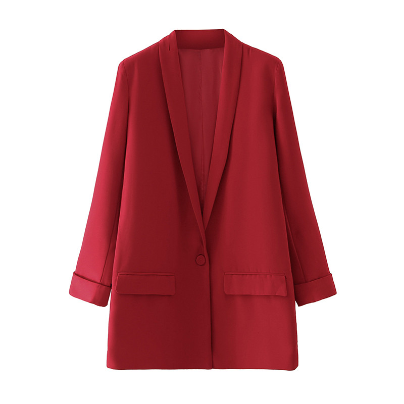 Women Red Blazer Jacket Casual Work Suit Coat Offi