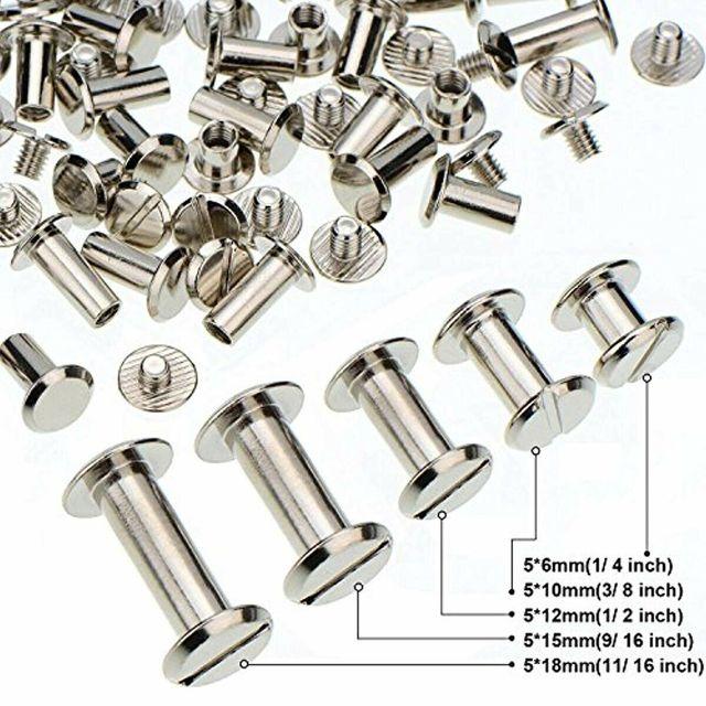 100 pièces argent Chicago vis poteaux en métal clou Rivet bouton en cuir artisanat 5 taille or Photo Album en cuir artisanat reliure
