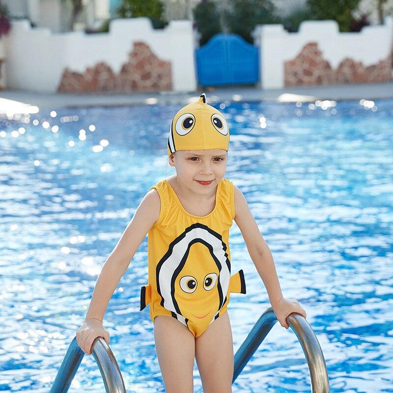 Новинка 2019 года; Модный треугольный Цельный купальник с капюшоном и маленькой золотой рыбкой для маленьких девочек; Miss Sunshine