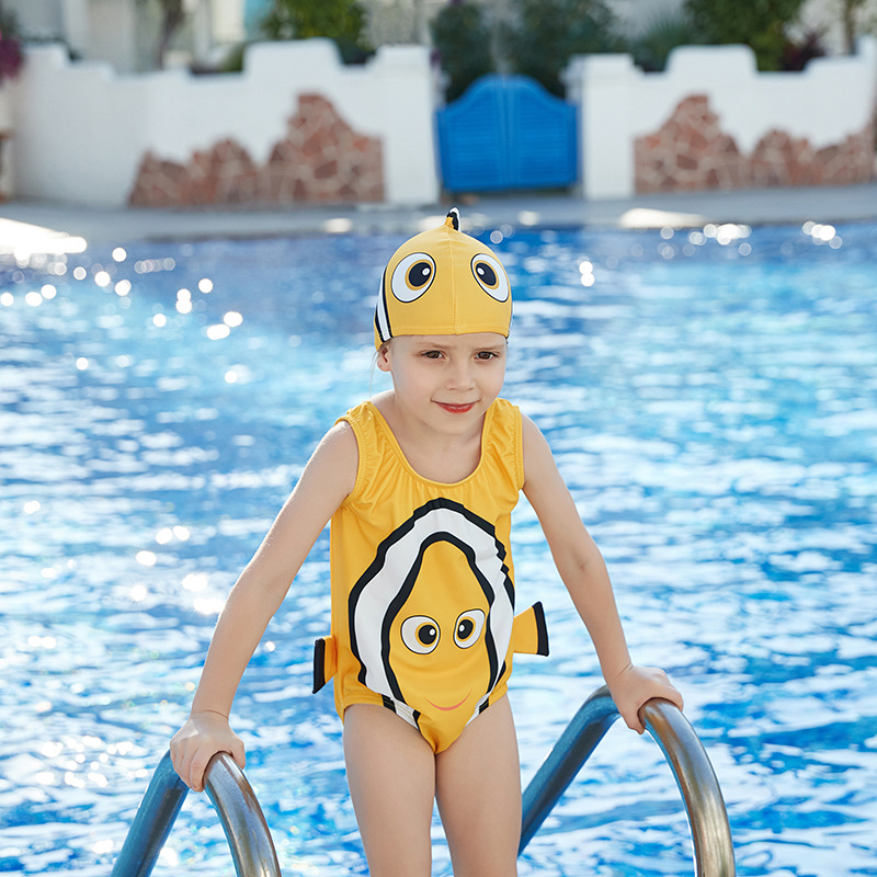 2019 New Style Miss Sunshine Fashion Cartoon Small Goldfish Triangular One-piece Hooded Medium-small Girls KID'S Swimwear