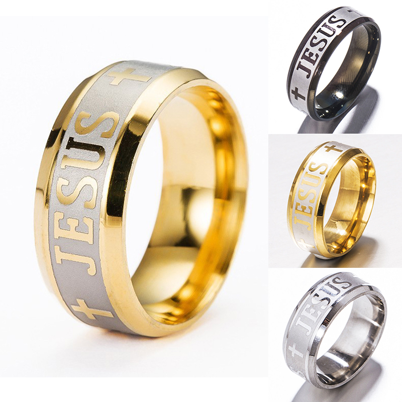 Jesus Letter Ring Men Titanium Stainless Steel Gold Black Silver Color Cross Rings For Women Mens Cross Couple Jewelry Gift Jewelry & Watches
