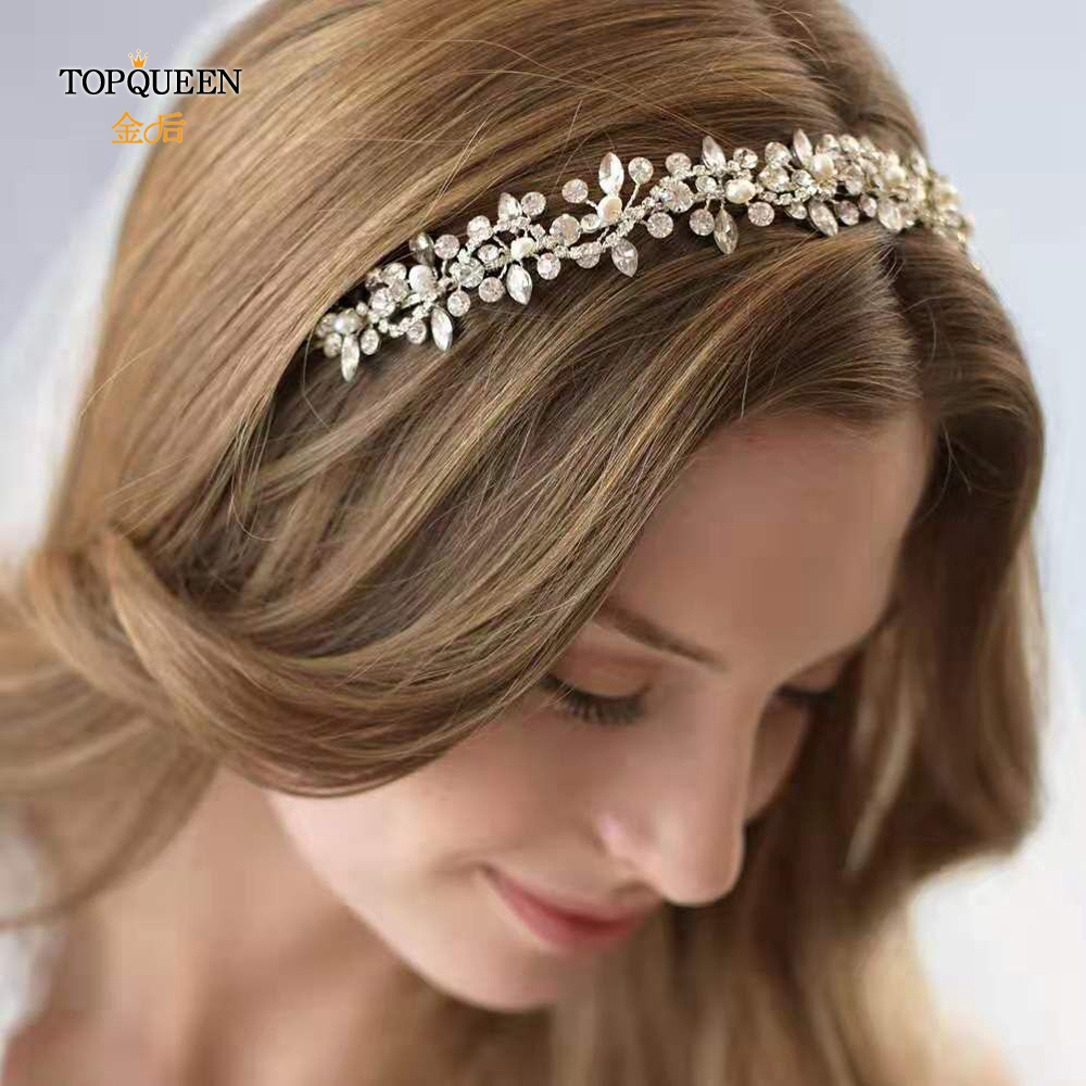 TOPQUEEN Wedding Rhinestone Headbands For Bride Tiara Headband Silver Rhinestone Headpiece Rhinestone Hair Vine HP266