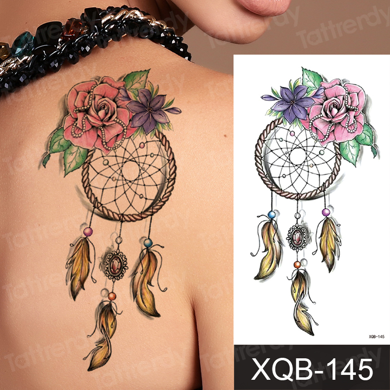 Temporary Tattoo Sticker Dream Catcher Flower Feather Sexy Tattoo For Women Purple Unique Flowers Tattoo Fake Waterproof Decal