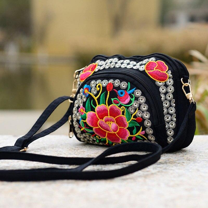 2017 New Women National Style Flower Embroidery Canvas Shoulder Bag Messenger Bag China Trend SER88