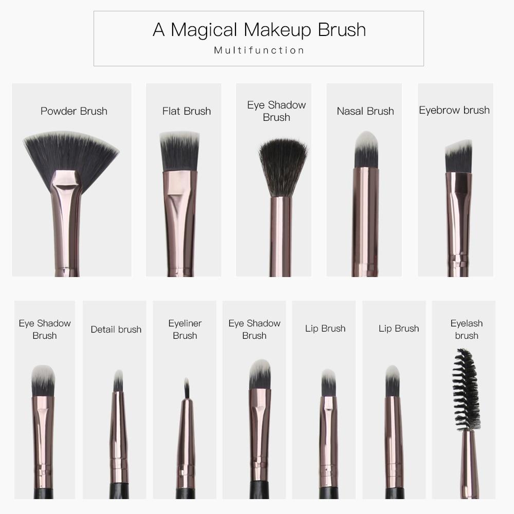 MAANGE 12 Pcs Professional Makeup Brushes Set Shell Brush Eyeshadow  Blending Eyebrow Small Fan Make Up Brush Cosmetic Tools Kit
