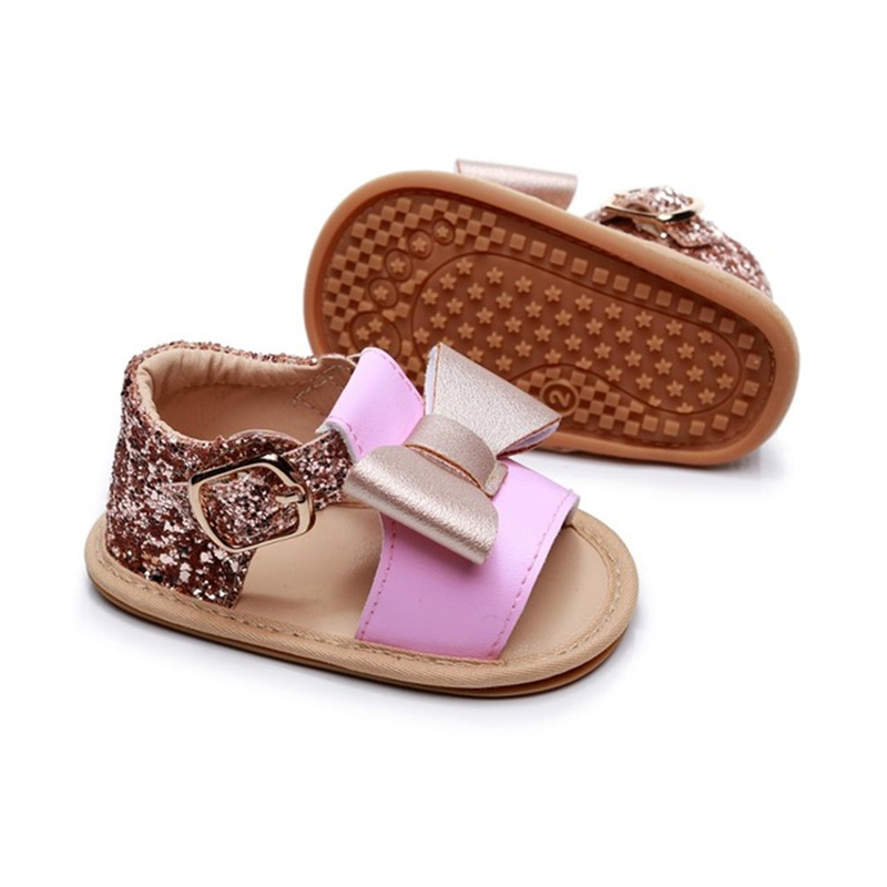 Baby Girls Bowknot Princess Shoes Diamond Cute Newborn Infant Toddler Summer Sandals PU Non-slip Rubber ShoesSize 0-24M