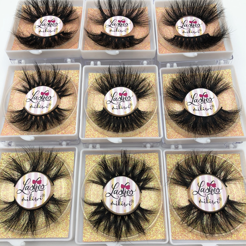 Mikiwi Free Custom Logo 25mm Lashes 30/50/100/200 Wholesale Glitter Paper  Square Case Packaging Label Makeup Box Mink Lashes