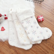 White Plush Christmas Stocking New Year Gift Bag for Pet Dog Cat Christmas Goods Xmas Tree Hanging Ornaments navidad cute deer patterned christmas new year socks for pet cat dog white red size m 4 pcs