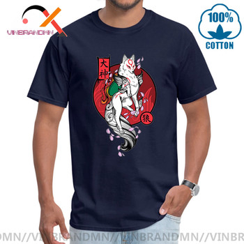 Japan Kanji White Wolf God T-shirt Men's Okami Game Tshirt Princess Mononoke Wolf God Forest Spirit Artsy Awesome T Shirt Hombre image