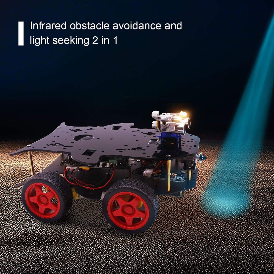 Rowsfire Roboter Auto 4wd Programmierung Stamm Bildung Off road Licht Tracking Roboter Spielzeug Mit Tutorial Für Arduino Heißer Verkauf - 5