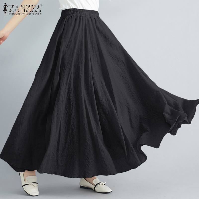 ZANZEA Women's Skirts Fashion Ropa De Mujer 2021Skirts For Woman Autumn A Line Maxi Elastic Waist Solid Skirts Plus Size 5XL