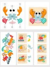 Мальчик мультфильм животных трафик деревянные 3D головоломки доска ребенка раннего образования головоломка танграм развития игрушки для детей головоломки