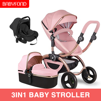 Free Shipping Luxury Baby Stroller High Land-Scape Baby Stroller 3 in 1 Portable Folding Stroller 2 in 1 Carriage