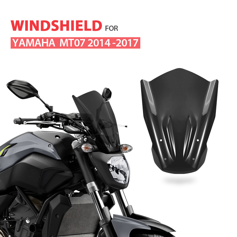 KEMiMOTO Windshield Windscreen with Mounting Bracket For YAMAHA MT07 MT 07 2014 2015 2016 2017 FZ-07 FZ07 FZ 07 Wind Deflectors