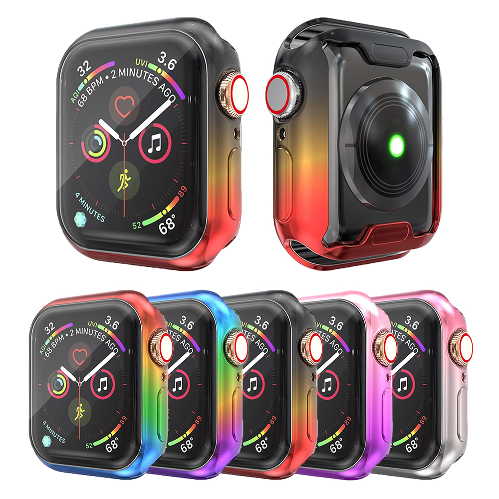 Plating Gradient Color Watch Cover Bumper For Apple Watch 5 4 Soft TPU Screen Protection Accessories For iWatch Case 44MM 40MM