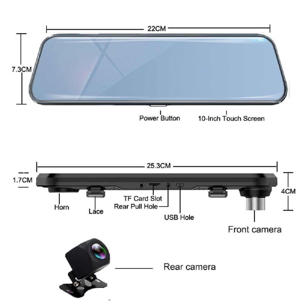 10 بوصة شاشة تعمل باللمس سيارة مرآة الرؤية الخلفية داش كاميرا مرآة FHD جهاز تسجيل فيديو رقمي للسيارات مرآة عدسة مزدوجة مع كاميرا الرؤية الخلفية مسجل داشكام