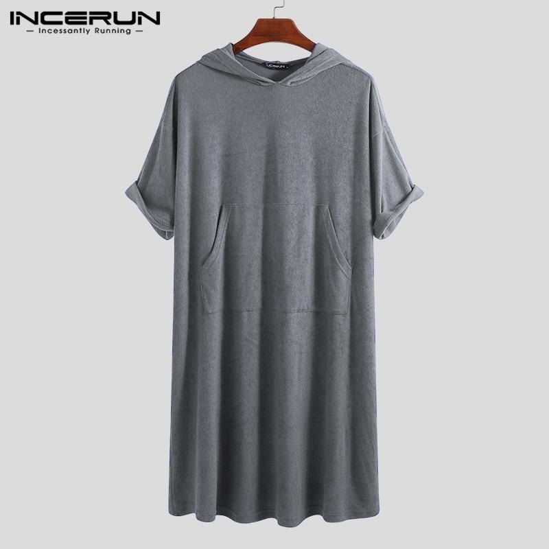 INCERUN Fashion Men Bathrobes Half Sleeve Pockets Solid Color Robes Quick-dry Hooded Beach Pajamas Men Towel Bathrobe Homewear